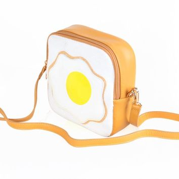 2017 PU Leather Poached Eggs Lolita Bags Women Messenger Bag Girls Small Fried Eggs Cute Flap Bags Funny Crossbody Bag L385