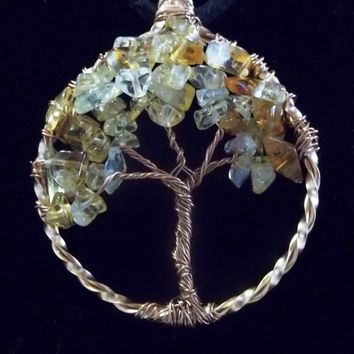 Wire Wrapped Citrine Gemstone Tree of Life Necklace