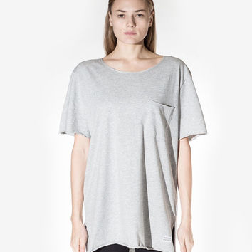 Basic Raw-Cut Elongated Short Sleeve Tee in Heather Gray: WMNS