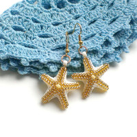 Star Shaped Earrings-Golden,White Star Earrings-Seed Bead Stars-Beadwoven Earrings-Small Earrings-Sea Star Earrings-Beaded Earrings