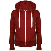 2016 Ladies Women Men Unisex Plain Zip Up Hooded Sweatshirt Coat  Zipper Jacket Top Overcoat Outerwear Hoodies # 81745