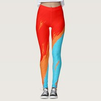 Sangria Orange & Blue Abstract Leggings