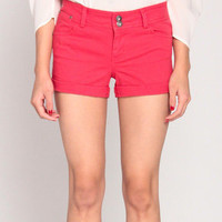 Folded Twill Shorts in Red