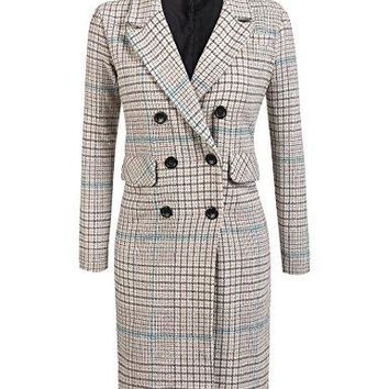 Zeagoo Women's Thick Double Breasted Plain Checked Jacket Blazer Overcoat Maxi Long Trench Coat