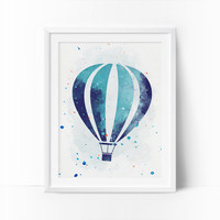 Air Ballon Prints, Air Ballon Nursery Art, Transportation wall art, Boys Nursery Printable, Watercolor Art, Navy Blue, Mint Nursery Art