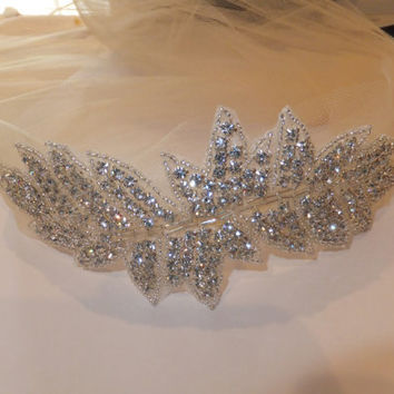 Bridal Headband, Rhinestone Headband, BONNIE, Bridal Headpiece, Rhinestone Leaf Headband, Crystal Headpiece,