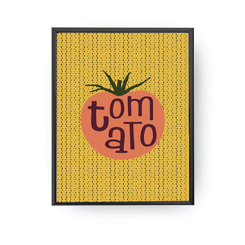 Tomato Typography, Vegetable Print, Kids Print, Kids Art, Children Learning, Nursery Art, Education Poster, Tomato Print, Typography Poster