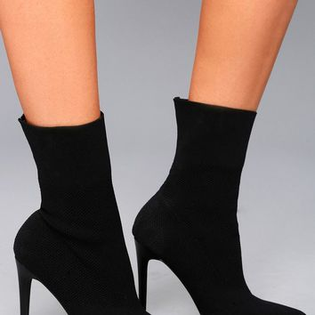 Century Black Mid-Calf Sock Booties
