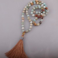 Women's Long Beaded Colorful Beaded Gold Tone Tassel Necklace