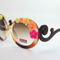 Women's Cute Lovely Summer Style Hot Fashion Fimo Flower Sunglasses = 4672320260