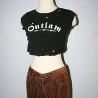 Distressed Vintage Cropped Tee Outlaw Goth Club Kid Barbed Wire Torn Muscle Top