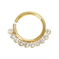 16G Steel Gold Tone Clear CZ Septum Hoop