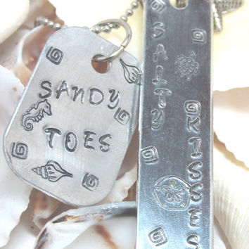 Sandy Toes Salty Kisses Hand Stamped Necklace