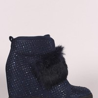 Rhinestone Faux Fur Strap High Top Wedge Sneaker