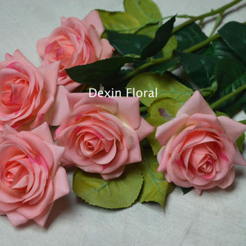 Real Touch Pink Roses For Silk Bridal Bouquets Wedding Centerpieces, Wedding Flowers