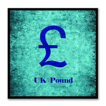 United Kingdom Pound Money Currency Aqua Canvas Print with Black Picture Frame Home Decor Wall Art Collection Gifts