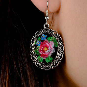 Handmade metal earrings embroidered earrings cross stitch ideas gifts for her