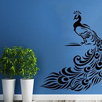 Wall Decal Art Decor Decals Sticker Peacock Bird Beauty Tail Feather Bedroom Design Mural C491