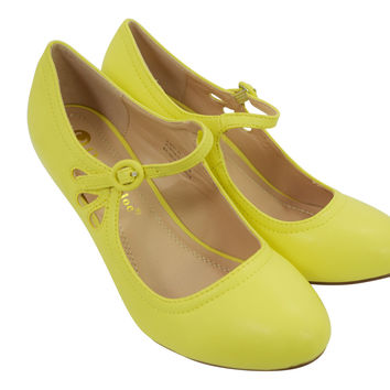 60's Retro Vintage Pinup Mary Jane Lemon Yellow Faux Leather Cut Out Pumps