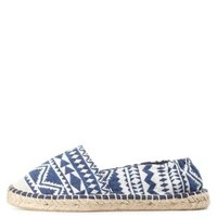 White/Blue Aztec Print Espadrille Flats by Charlotte Russe