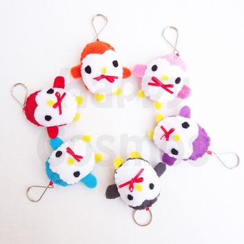 Penguin Keychain or Phone Charm - Kawaii , Plush , Felt Stocking Stuffer , Dust Plug