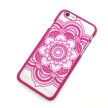 Beautiful Floral Henna Paisley Mandala Palace Flower Rose Red Phone Back Bumper Cover Case For iPhone 5 5s 5C SE 6 6s 6 Plus 6s Plus