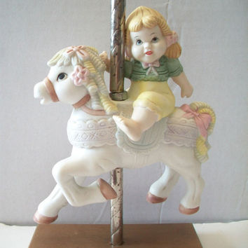 Girl Riding Fancy Carousel Horse Figurine Shabby Chic Collectible Home Decor