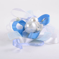 Gentle fabric blank for hair accessories and brooches blue and white handmade