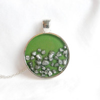 Green Round Resin Pendant Green Pendant Pebble Stone Necklace Round Necklace