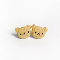 Cute Bear Cookies Studs  Miniature Polymer Clay by kukishop