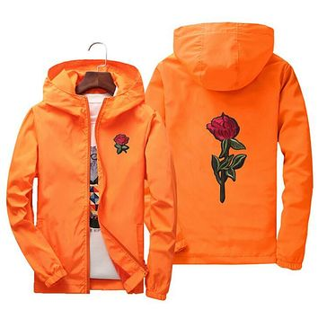 Windbreaker College Jacket with Rose