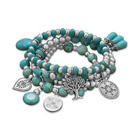 Set of 4 Silver Tone Multicharm Fashion Stretch Bracelets with Turquoise