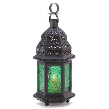 Iron And Green Glass Moroccan Candle Holder Lantern