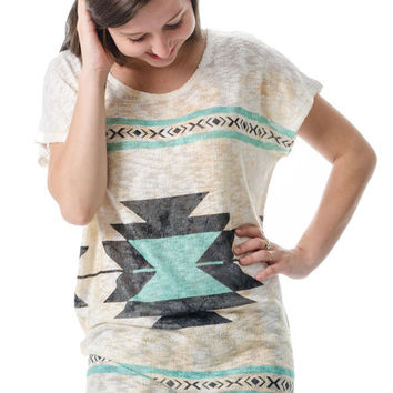 Hello Summer Mint Aztec Tunic
