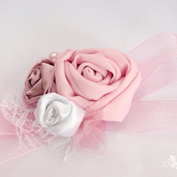 White, mauve and pink cuffs, wrist corsage, bracelet with lace, silk, satin,