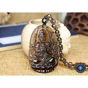 Natural Ice Obsidian 8 Patron Buddha Pendant Necklace