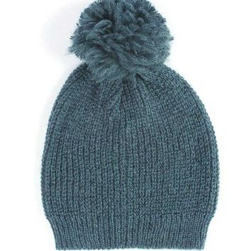 Plush Beanie w/ Pom - Multiple Colors