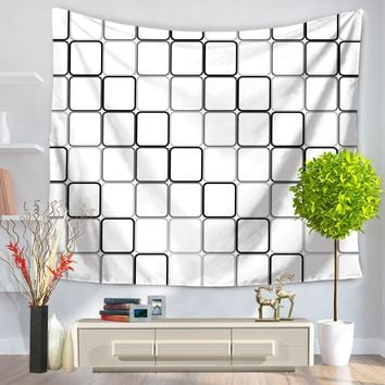 CAMMITEVER Black White Square Geometric Tapestry Indian Wall Hanging Tapestry Hippie Landscape Mandala Bedspread Ethnic Throw