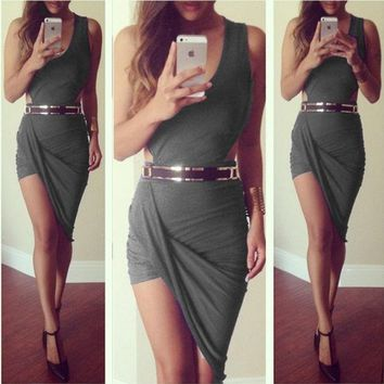 DCCKIX3 summer dress 2015 new asymmetrical Dress sexy party elegant bandage casual mini short sleeveless red black grey white prom evening Cocktail bodycon nightclub Dress = 1946254788