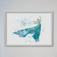 Princess Elsa Frozen FRAMED Art Print Watercolor Print poster Disney