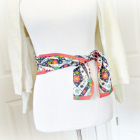 Vintage Scarf Belt, Women Wide Fabric Sash Belt, MOD Flower Dot Scarf, Multicolored Red Print Scarf, 1960s 70s Hippie Spring Summer Fashions