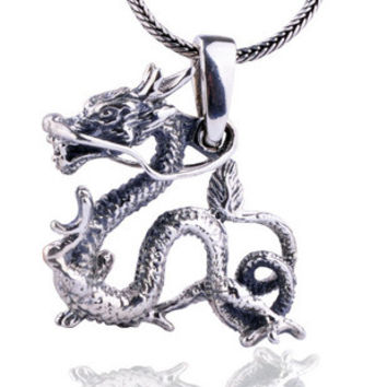 Ancient Chinese Dragon Pendant .925 Thai Silver Oriental Jewelry for Men w/ SILVER CHAIN