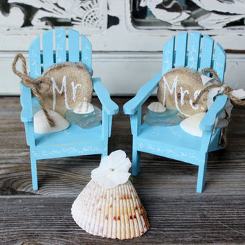 Unique Coastal Cake Topper , Beach Wedding,  Adirondak Chairs ,  Mr & Mrs Chairs , Rustic Beach Decoration