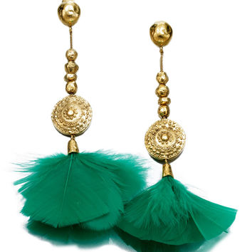 Aurélie Bidermann Cites D'Or Feather Clip-On Drop Earrings - ShopBAZAAR