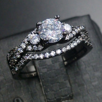 Sz 5/6/7/8/9/10 Engagement Retro Luxurious Fashion Jewellery Topaz 10KT black Gold Filled Wedding Diamonique Ring set for love gift