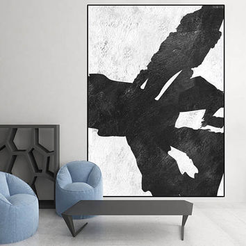 extra large wall art, black and white large abstract painting on canvas, original abstract Painting, large canvas art ,