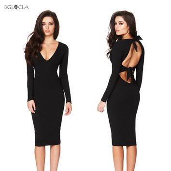 490cf3b76cc5 2019 Bodycon Backless Dress Women Solid Sheath Bandage Midi Dres