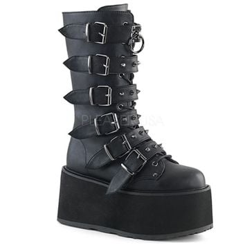 Demonia DAMNED-225 - BLACK VEGAN LEATHER Women's Punk Mid Calf Boots