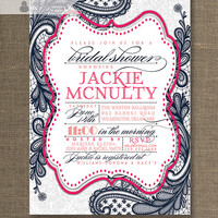 Pink & Navy Lace Bridal Shower Invitation Shabby Chic Vintage Rustic Wedding Invite Blue Gray Printable Digital or Printed - Jackie Style
