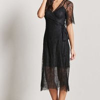 Eyelash Lace Twofer Wrap Dress